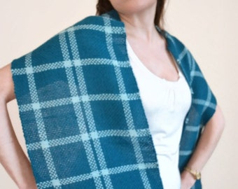 10% MOTHERSDAY code - Handwoven Alpaca Scarf - Plaid Fashion Accessory - teal scarf