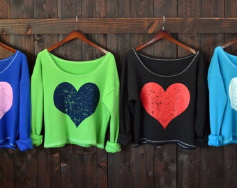 Big Huge Heart.  Wide Shouldered Cropped Super Soft Sporty Sweatshirt.  Sizes S-XL.  Made in the USA.  4 Sweatshirt Colors, Any Heart Color