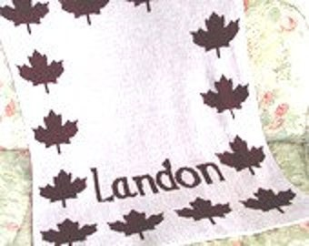 Personalized Maple Leaf Knit Baby Blanket
