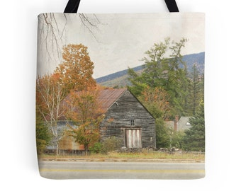 """Photo Tote Bags, Farm Stand Photo Shopping Bag Shoulder Tote Fall Colors Photo Grocery Bag, 13"""" 16"""" 18"""" Square Market Shopping Book Bag"""
