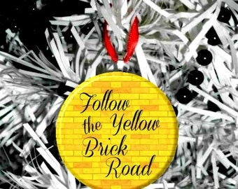 "Wizard of Oz Follow the Yellow Brick Road font -  2.25"" Christmas Tree Ornament"