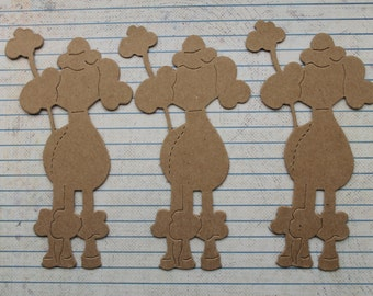 3 Bare chipboard  French Poodle Dog Diecuts 2 5/8 inches wide x 4 3/4 inches tall