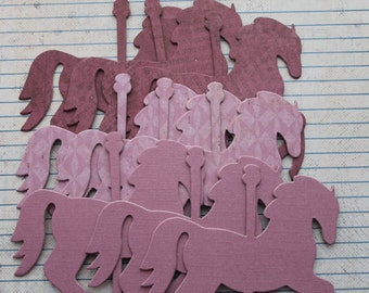 6 Carousel HORSES lavender purple tone chipboard covered die cuts 4 inches  x 3 3/8 inches set 6CA 015