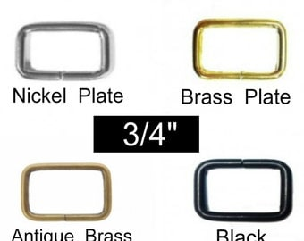 "100 PIECES - 3/4"" - Split Rectangular Loop Rings – Nickel or Brass Plate, Antique Brass or Black Finish"