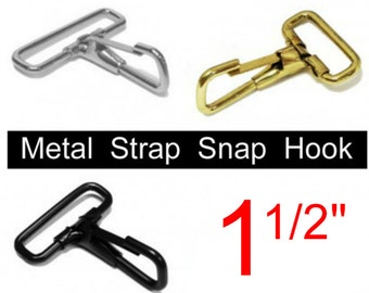 """10 PIECES - 1 1/2"""" - STRAP SNAP Hook, Purse Clip, for 1.5 inch wide webbing - You choose finish"""