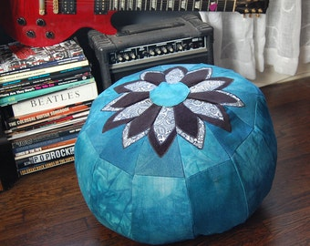 Teal and Paisley Pouffe, reclaimed denim, handmade in the USA