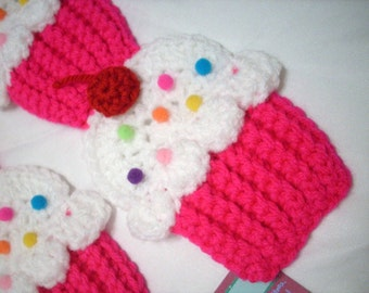 Cupcakes Scarf  Pink Neon White Frosting Sprinkles 3D Cherry Choose length teen women scarf Kellyz Kreationz Made To Order