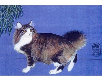 Long Hair Cat, Maine Coon or Norwegian Forest Cat print from my original painting