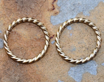 4  Antique Gold 17mm Grande Rope Jump rings  - Nunn Designs