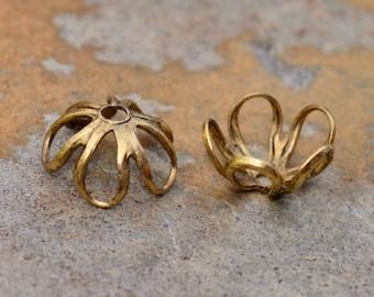 4  Antique Gold 6mm Open Petal Bead Caps - 2 pairs  - Nunn Designs