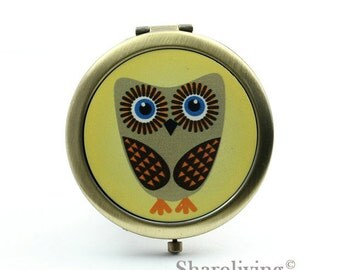 1pcs Owl Pocket Mirror, Compact Mirror, Antique Bronze Silver Gold Makeup Mirror, Personalized Mirror - HPM004P