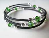 SALE Green and Clear Crystal Black Beaded Memory Wire Bracelet - Small