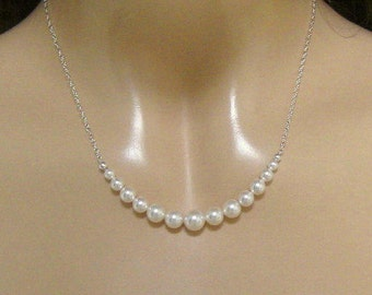 Bridesmaid Necklace - Pearl  Necklace - Bridal Necklace  - Wedding Jewelry -  Bridesmaid Jewelry by Janice Marie