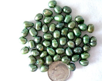 Forest Green Rice Cultured Freshwater Pearl  D 5mm Top drilled