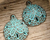 SAND DOLLAR Pendants/Charms - (2) Greek Pendants/Charms