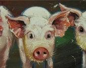 Pigs painting 20 12x36 inch original oil painting by Roz