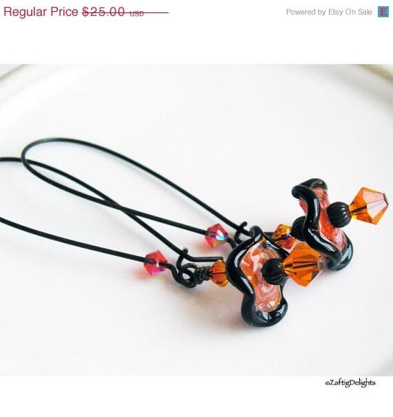 HOLIDAY SALE 35% OFF  - Wavy Disc Earrings, Lampwork Glass Swarovski Crystals Orange & Black Dark Antique Brass