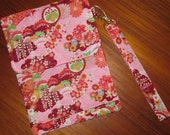 Electronic Readers, iPad Mini Tablet Quilted Sleeve with Wrist Strap Japanese Motifs Design Pink