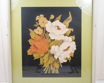 Vintage Floral Print Framed Flowers Botanical Litho Lithograph Retro