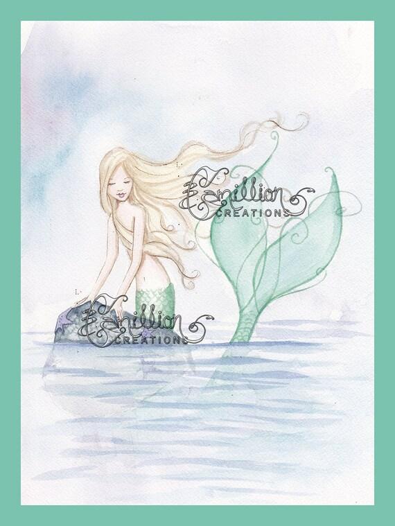 Sea Fog Mermaid  Original Watercolor Painting by Camille Grimshaw