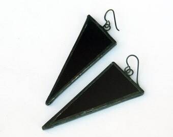 EARRINGS -  Triangle Earrings - Stained Glass Earrings - Black Triangle Earrings