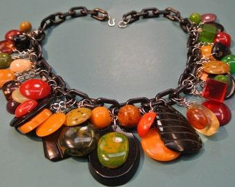 Rare unique adjustable ONE-OF-A-KIND necklace w 37 multicolor pendants of genuin tested vintage 1940s bakelite plastic w black plastic chain