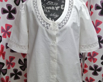 Unique one-of-a-kind handmade highquality X-large white cotton blouse with handchrochet lace front/ sleeves decor