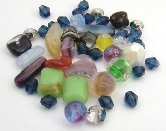 Assorted vintage German glass beads, asst color shape size, 42 pcs