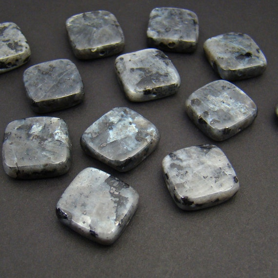 Flat square Norwegian moonstone beads grey black by laurelmoon
