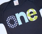 Boys ONE Shirt for First Birthday - 12-18 month long sleeve navy blue tshirt with aqua chevron lime green navy blue polkaot lettering
