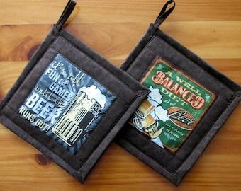 Beer Potholders for Man Cave, Handmade Fabric Potholders, Beer Kitchenware, Bachelor Gift,  Breweriana Mancave Decor, Set E