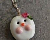 SALE!!!  30% OFF!!!  Lampwork Glass and Sterling Silver Snowman Pendant Neckace