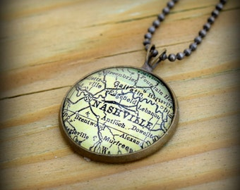 Nashville Map Necklace - Custom Handmade Pendant - Tennessee Charm Jewelry - Great Bridesmaid Gift