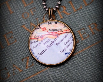 Santa Barbara Map Necklace - Custom Handmade Pendant - Charm Jewelry - Gift - California - Montecito - Wanderlust - Vacation Travel Jewelry