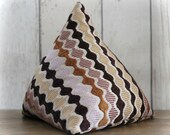 Fabric Doorstop, Doorstopper in Ric Rac Pattern Brown Fabric, Triangular, Pyramid Shape