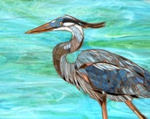 Blue Heron Mosaic Card - Greetings Card - Mosaic Art