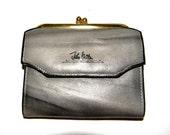 Vintage John weitz leather wallet, purse, in grey, gray