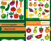 Fruit and Vegetable Digital clipart bundle - food clip art - apple, pear, orange, paprika - MGB106