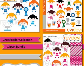 Cheerleader collection clip art commercial use - clipart bundle - girls, trophy - pink, blue cheerleaders