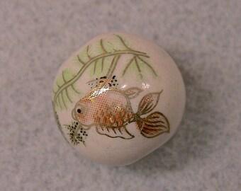 VINTAGE Porcelain Bead Koi Fish Orange Gold 21mm  pkg1 POR65a