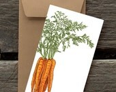 Carrots  - 8 Blank flat notecards and envelopes