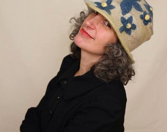 Hand Felted Hat - Merino Wool - Wet Felted - One Of a Kind - size medium.