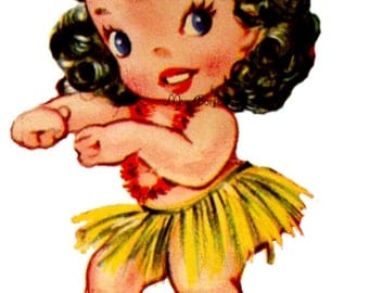Kitschy Retro Hula Girl No2 - You Print - Image Transfer - T shirts and More - INSTANT DOWNLOAD