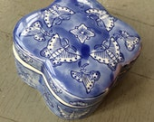 Black Friday - Blue and White Lidded Toilette Vanity Jar With Butterflies Hair Pins and Powder