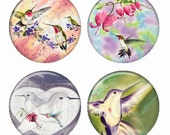 Hummingbirds Watercolor Style Magnets or Pinback Buttons or Flatback Medallions Set of 4
