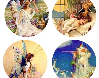 Fairies Fairy Magnets or Pinback Buttons or Flatback Medallions Set of 4