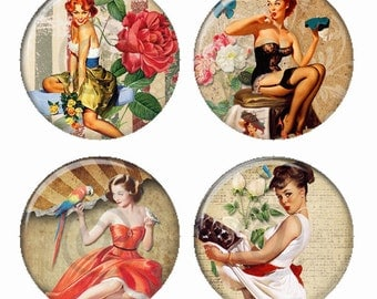 Pretty Redhead and Brunette Pinup Girl  Magnets or Pinback Buttons or Flatback Medallions Set of 4
