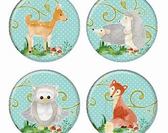 Woodland Critter Illustrations Deer Owl Fox Hedgehog Magnets or Pinback Buttons or Flatback Medallions Set of 4