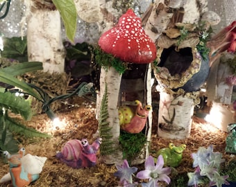 Red Little Mushroom Hut Fairy House Made out of Birch Bark Great for Holiday Gift