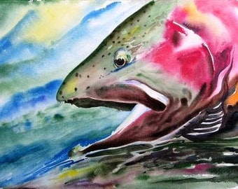 Rainbow Trout Watercolor Painting 8X10 fish art print Cottage Decor by Barry Singer Fisherman